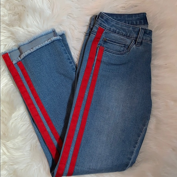 NWOT Red Striped Blue Jeans